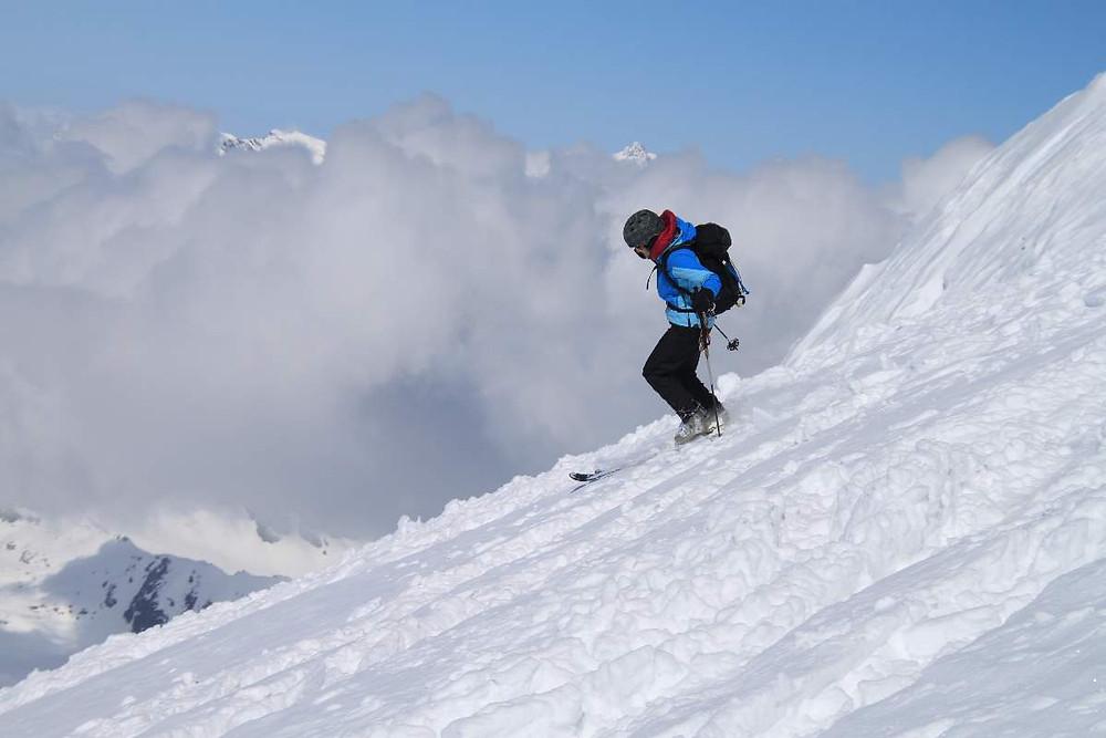 Smučanje na Gran Paradisu v Grajiških Alpah.