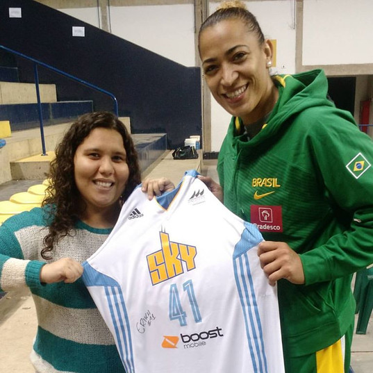 Erika presenting me with a Chicago Sky jersey