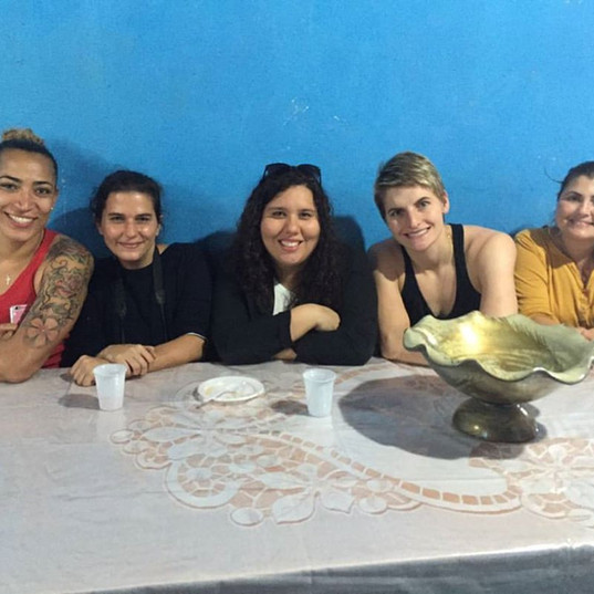 Team for special story about Erika during the Olympics. In the photo, besides the athletes, are the journalist from Globo and the national federation PR