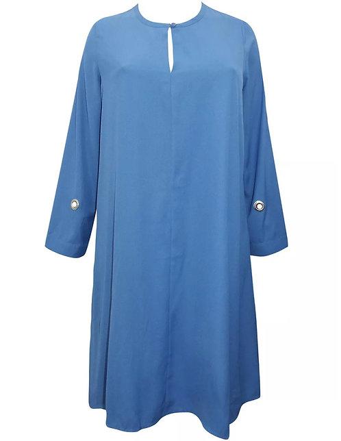 Roaman's USA Beautiful Blue Shift Eyelet dress Plus size 16 18/20 22 24 26 [421]