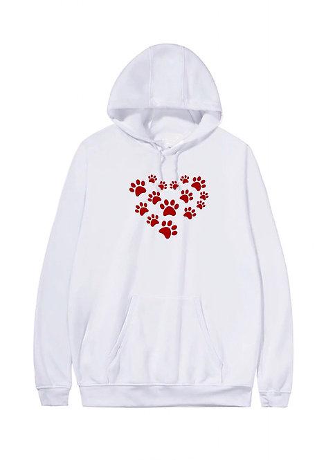 Ladies Paw Print Heart Hoody Plus Sizes 16-34 White
