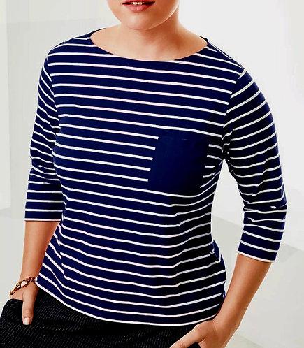 Nautical Jersey Stripe Navy Blue Top Plus Sizes 22/24  [263]