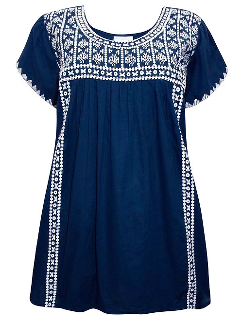 Navy Embroidered Cotton Smock Top Plus Size 18/20 22/24 26/28 [368]
