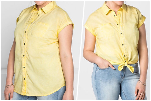 Sheego Luxury Cotton Oil Washed Shirt Yellow Plus Size 22/24  [370]