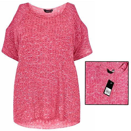 Pink ribbed knit soft stretch jumper Plus Size 18-26 cold shoulder [396]