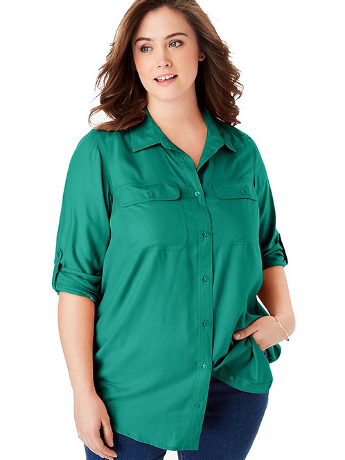 Woman Within roll tab utility shirt Size 18-38