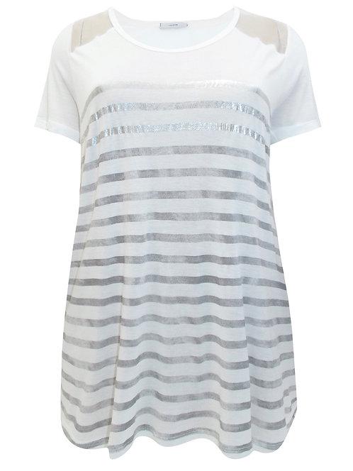 White & Vintage Silver Grey striped Jersey Top Plus size 24 26 by Gina B [486]