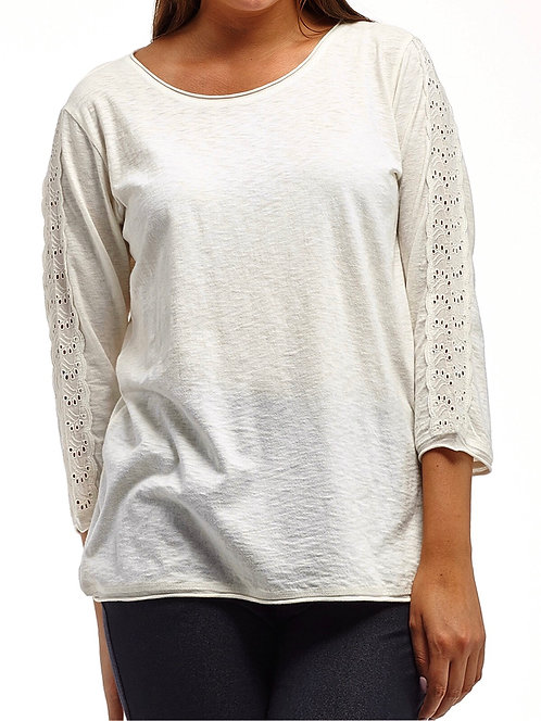 Rich Ivory Pure Cotton Lace sleeve Top Plus Size 18-24  [340]