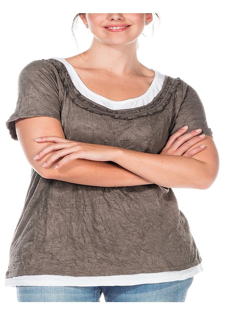 Crinkle Mock Layer Taupe & White Top Plus Sizes 16-32