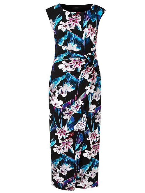 Joanna Hope Luxury Black Jersey Print Dress Size 26 28 30 [361]