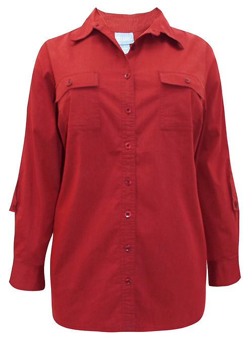 Luxury Cotton Rich Ruby Rust Shirt Size 22-36 Roll tab blouse  [248]