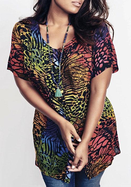 Roamans Multi crinkle blouse longer length Size 18/20