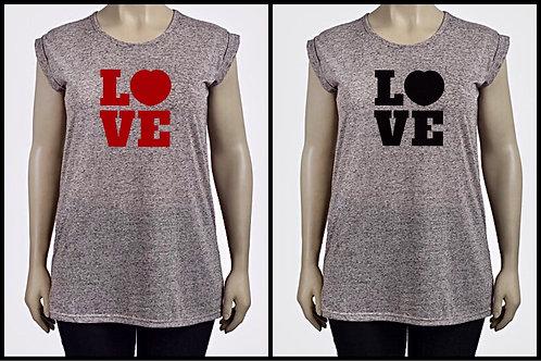 Womens Grey Flecked Linen Mix Love Heart Top plus Size 16-34