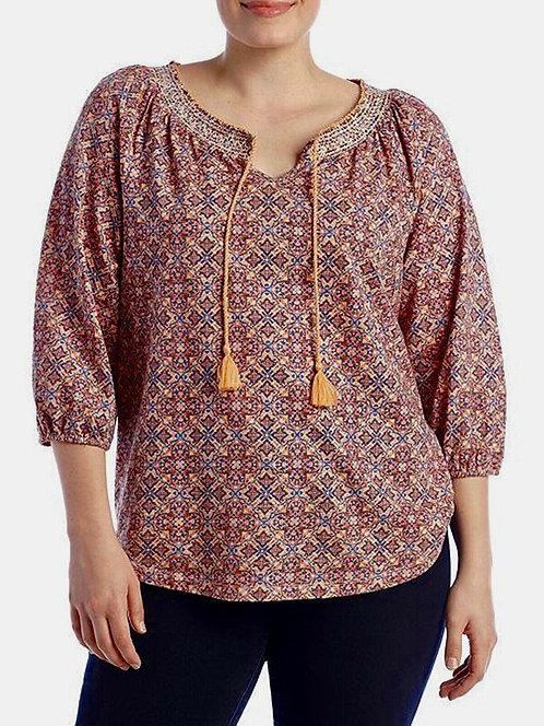 Morroccon Mozaic Cotton Jersey Tassel Tie Top Plus Size 18/20 22/24 [269]