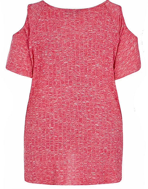 Pink ribbed knit soft stretch jumper Plus Size 18-26 [396]
