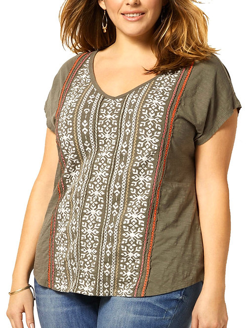 Sage Green Embroidered Cotton Placement Print Top Plus Size 20-30 [339]