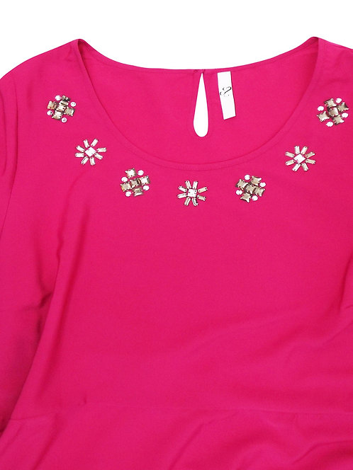 Ex Evans fit & flare top Fuscia pink jewel embellished Plus Size 16-28 [453]