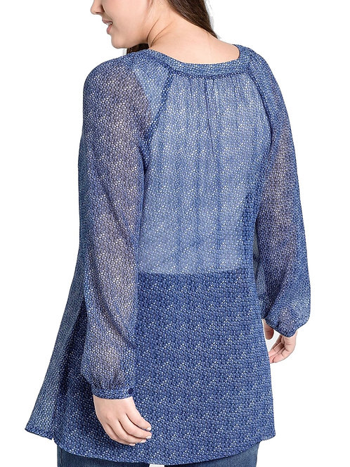Blue Print Long Chiffon Shirt Plus Size 20-30  [284]