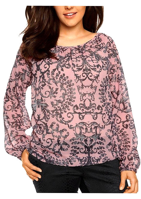 Pink Ornamental Print Chiffon Blouse Plus Size 16-26 [384]