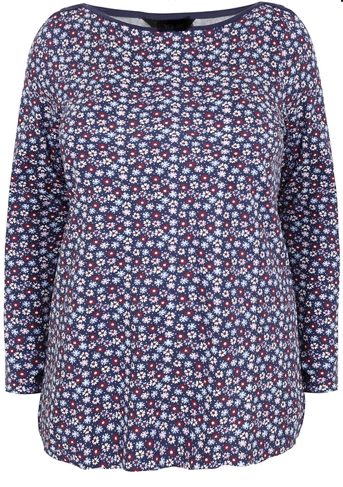 Soft stretch floral jersey top Plus size 16-32 long sleeves