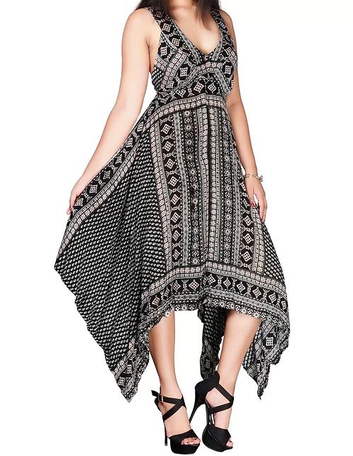 Black Print Hanky Hem Diva Dress Plus Size 18 20 22  [291]