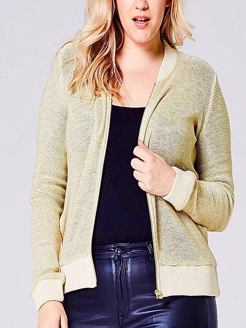 Cream & Gold Knit Zip up Plus size 28/30 Jacket Cadigan [483]