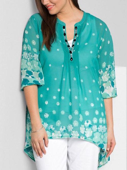 Turquoise Chiffon Jewel embellished Blouse Sizes 18-28 [436]