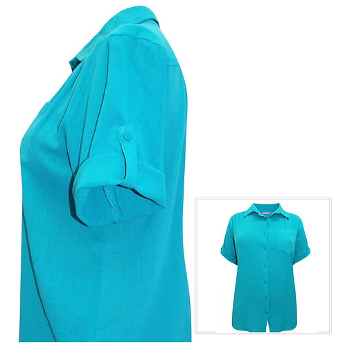 Woman Within Turquoise Crinkle Cotton Blouse Size 34 -40