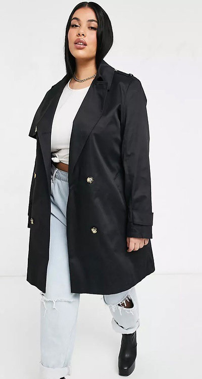 Black Trench Coat from ASOS Curve Plus size 16 26 28 30 Fully lined  [462]