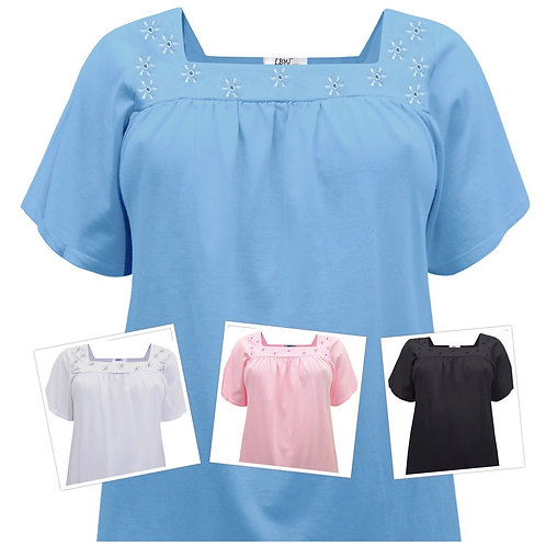 Baby Blue Stretch Cotton Plus sizes 18-36 Floral Broderie Anglaise Top [324]