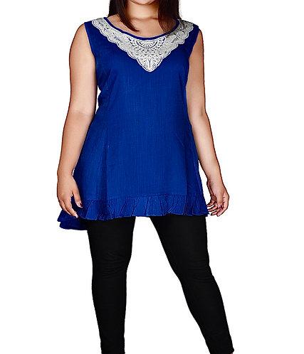 Crochet Lace Tunic Top Cobalt Blue Plus Size 24-34
