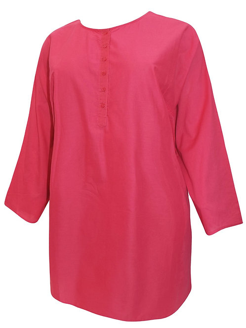 Pure Cotton Pink Kaftan Blouse Plus Size 26/28 Womens Shirt [389]