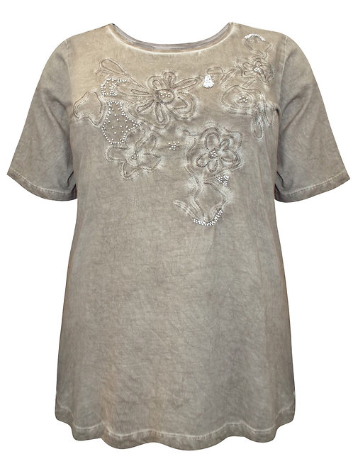 Thea Oil Wash Vintage Jersey Beaded Top stone Plus size 20-32 [414]