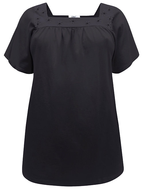 Size 16-36 Black Pure Stretch Cotton Floral Broderie Anglaise Top [318]