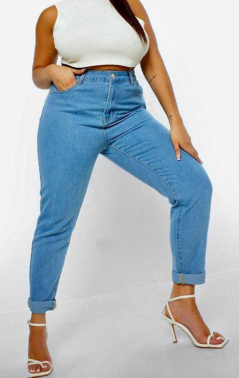 Mom High Waist Blue denim Jeans Size 16 18 20 22 24 optional turn ups  [461]