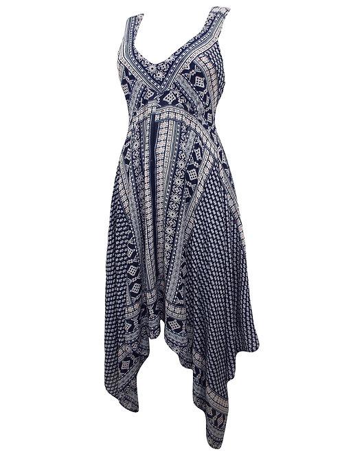 Navy Handkerchief Dress Size 18 20 22 [291]