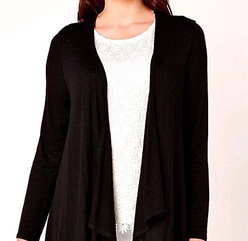 Black lightweight jersey open cardigan Plus Size 18/20  [447]