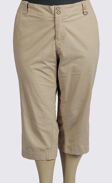 Crop Pants Plus Size 30 32 Beige Stone Capri 3/4 trousers [210]
