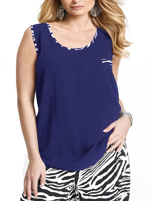 Wide strap cami vest top plus size 16-26 Royal Blue Printed Trim  [371]
