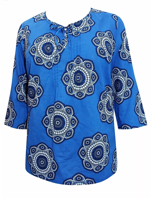 Ulla Popken Blue kaleidoscope print top Plus size 20/22 24/26 Tunic [261]