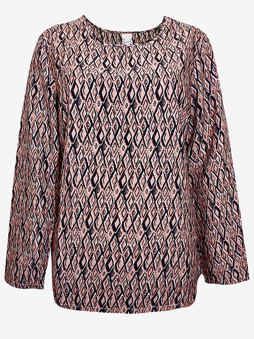 Black & Pink Diamond Printed Silky Top Plus Size 16-28 [379]