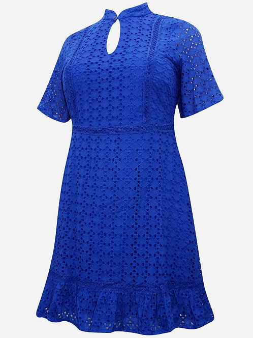 Cobalt Blue Broderie Anglaise thick lined Dress Sizes 24 26 [333]