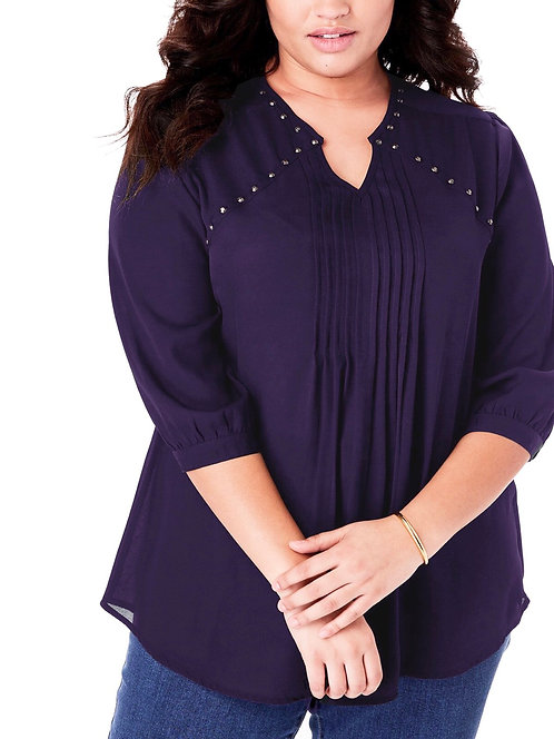 Woman Within Amethyst Purple Blouse Top Plus Sizes 16-36  [227]