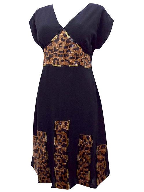 Black Sequin Embellished Dress Size 20 22 24 [341]