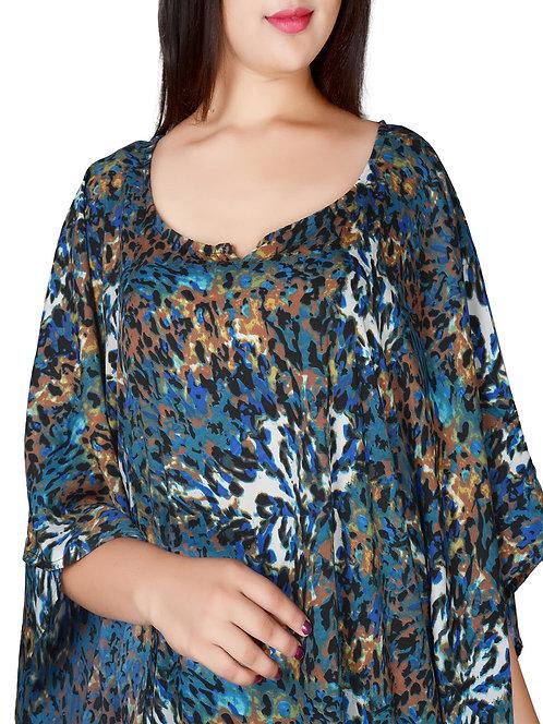Long Animal multi print Soft Kaftan dress Size 22 24 26 [250]