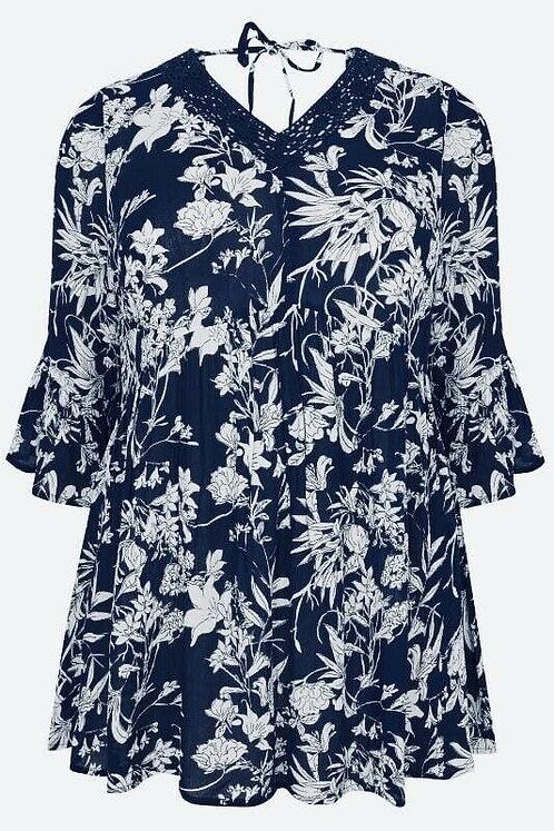 Navy floral loose tunic blouse Plus Size 18 20 22 Crochet Lace Trim [208]