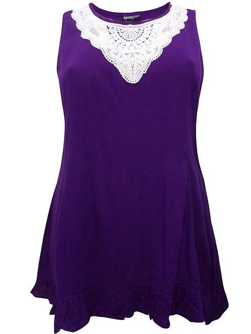 Purple Sleeveless Top Plus Size 28 30 32 34 36 crochet lace [475]