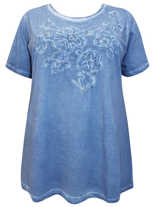 Blue Oil Wash Vintage Jersey Beaded Floral Top Plus size 20 22 24 26 28  [413]