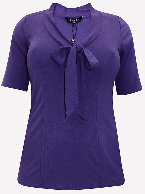 Purple Top pussy bow luxury jersey crepe blouse Plus size 16-24 [474]