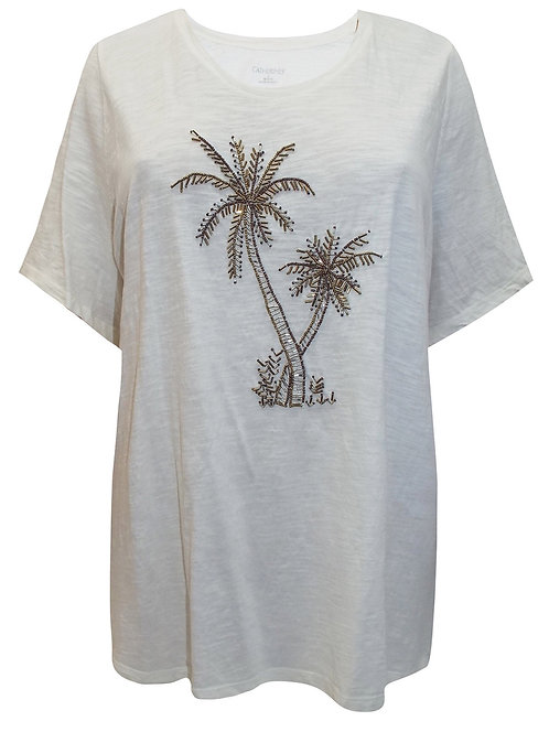 Pure Cotton Palm Tree Embellished Beaded Top Plus sizes 18-38 Ivory [480]